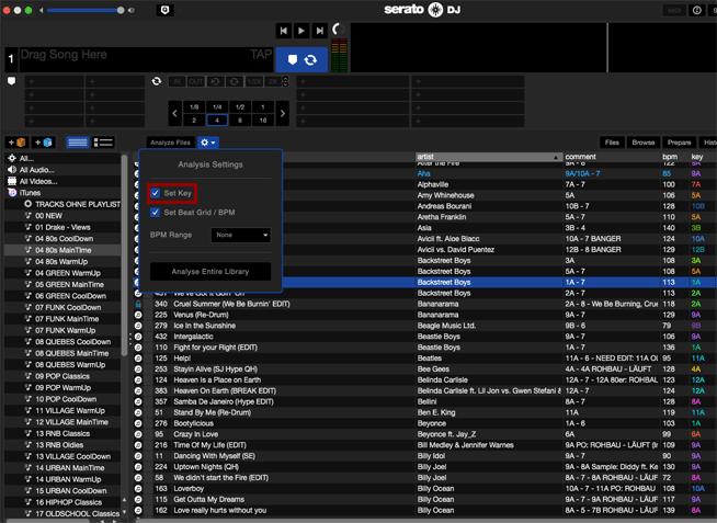 Feststellen des Keys beim Analysieren mit Serato DJ