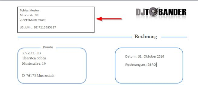 Dj Rechnungsvorlage Template Download Im Ms Word Format