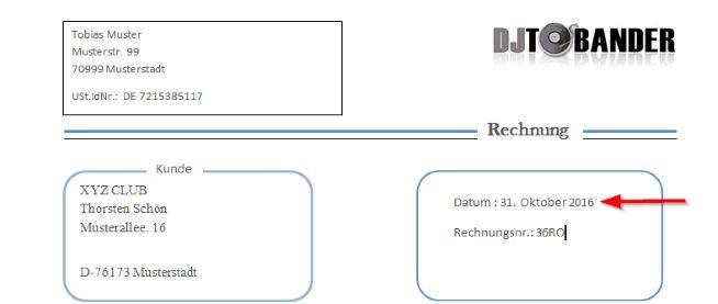 Dj Rechnungsvorlage Template Download Im Ms Word Format