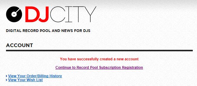 Zur Anmeldung im Record Pool einfach Continue klicken