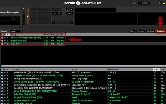 Fülle dein PREPARE Tab vor deinen DJ Sets immer mit zwei bis drei Lieder