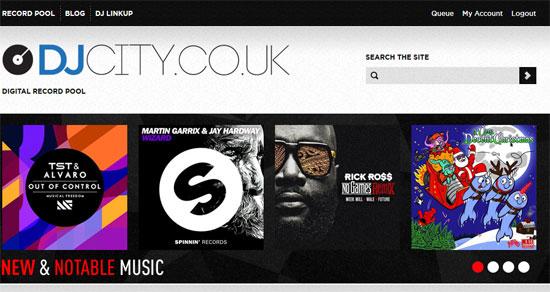 Die DJ City UK Seite, auf die du als Mitglied ebenfalls zugreifen kannst