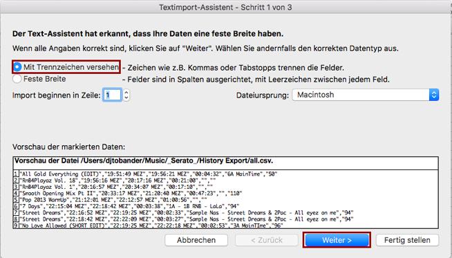 Schritt 3: DJ Playlists importieren in MS Excel