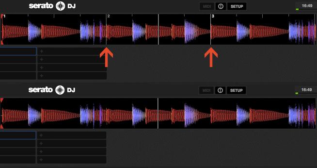 Erst nach dem Setzen des Beat Grid, ist Auto-Sync möglich