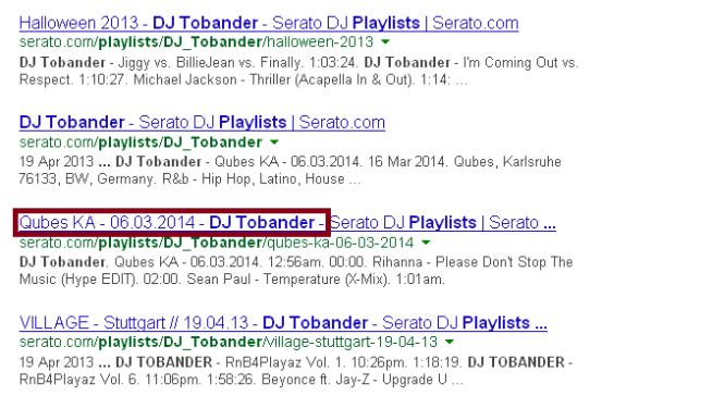 So werden deine Serato Playlisten in Google angezeigt