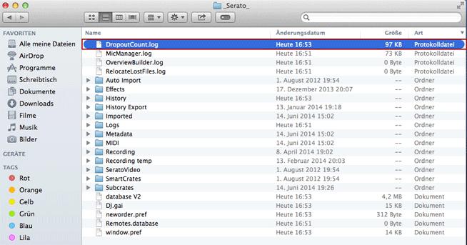 Das DropCount-File befindet sich im _Serato_ Ordner und zählt die USB Dropouts