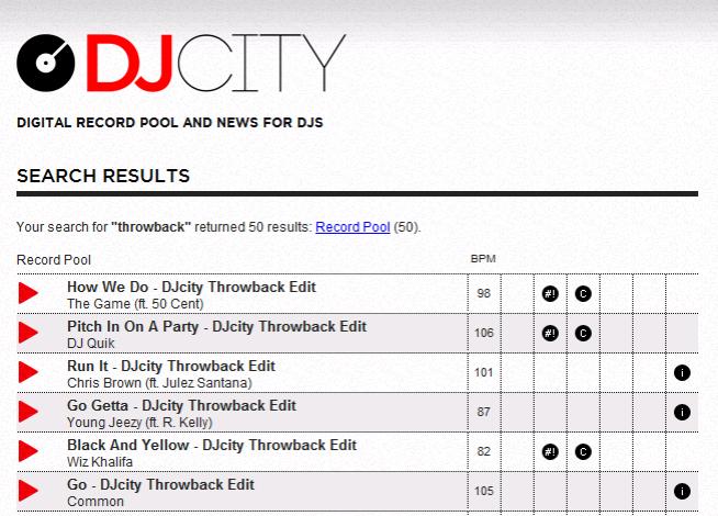 Der Record-Pool DJCity bietet jede Menge alte Classics in hammer Qualität
