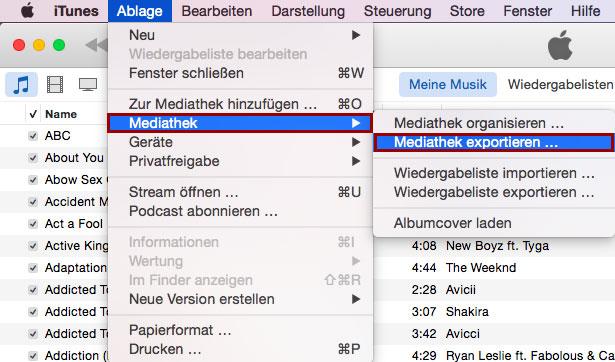 Hier kannst du deine komplette iTunes Mediathek exportieren