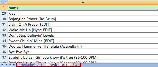 Nun kopiere ich Playlist_ALL in das Mediathek_ALL Sheet hinein