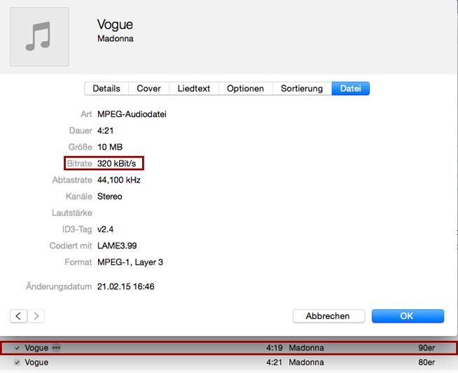 Das ist die bessere Version it 320kBit/s, die ich behalten möchte