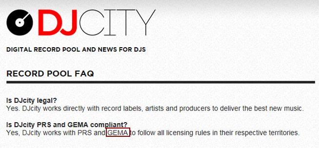 DJCity ist legal nach deutschem Recht