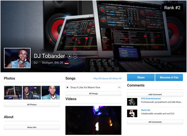 Auf Seiten wie ReverbNation kannst du dir einfach ein DJ Pressekit zusammenbauen