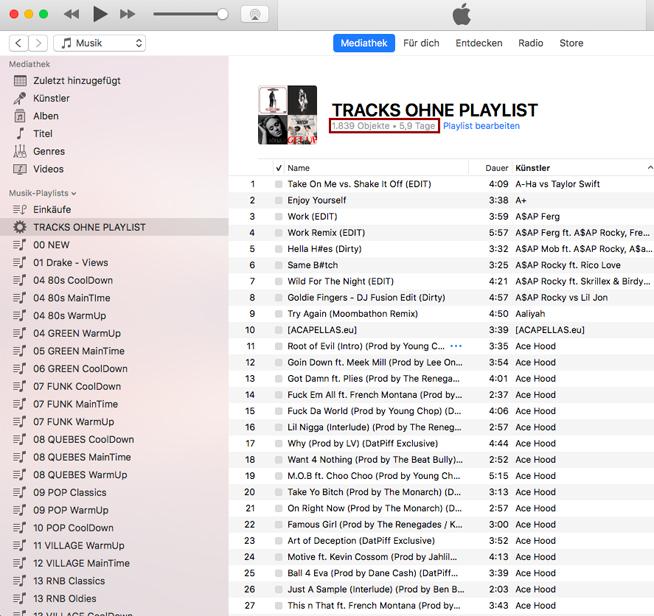 Musiklibrary Aufräumen: #3 Ungespielte Tracks löschen