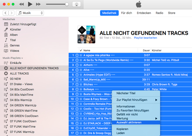 Musiklibrary Aufräumen: #2 korrupte Tracks entfernen